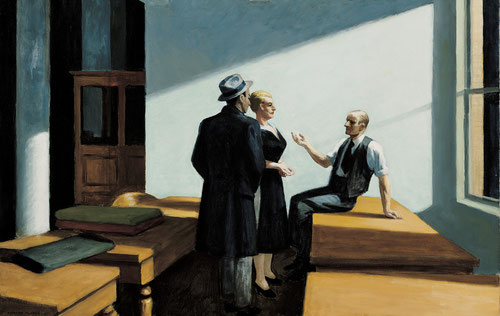 Hopper, Reunión nocturna, Conference at night, 1949.Óleo sobre lienzo.71x102cm. Wichita Art Museum, Roland Murdock Collection.