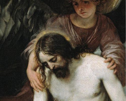 Detalle del cuerpo de Cristo inerte de belleza clásica, apenas con resto de sangre y proporciones perfectas.Destaca sobre la piel rosada del ángel el cuerpo iluminado de gran quietud y misterio.Mientras el ángel interpela al espectador..