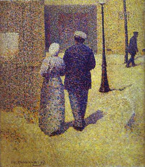 Charles Angrand.Couple dans la rue,1887.38x33cm Personajes de clases populares...que evocan..la solidez de sus ideas políticas,claramente vinculadas al anarquismo militante.