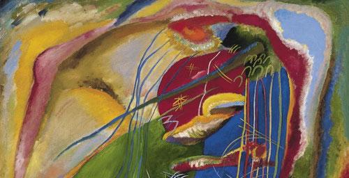 """Kandinsky,detalle del cuadro con tres manchas del Museo Thyssen 1914.El mismo año que estalla la Primera guerra mundial eleva la pintura a una cota inalcanzable,pinta la conciencia de su propia vitalidad, es su """"necesidad interior""""."""