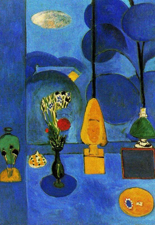 Henri  Matisse, La ventana azul, 1913.Óleo sobre lienzo.130x90cm.The Museum of Modern Art,Nueva York. El color azul dominante y la estructura bidimensional convierten el espacio óptico en atmósfera serena y armonía.Preferencia por el espacio sin fin.