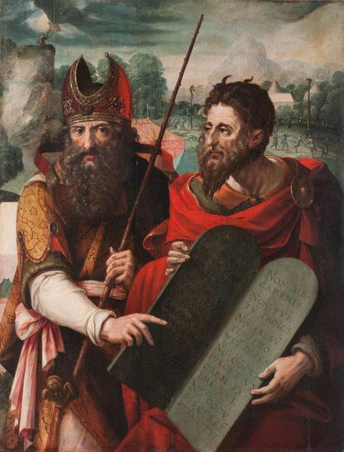 Moises y Aaron, escuela flamenca,1550.Colección BBVA.Yahvé se manifiesta sobre el monte Sinaí y Moises recibe las tablas de la ley, código de Israel.(Ex20 y Dt4,10-17)A la dcha el pueblo le pide Aaron adorar al becerro de oro (Ex 32)