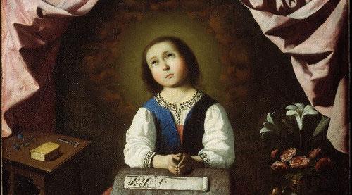 Detalle de la Virgen Niña en éxtasis, 1640-45.Museo Metropolitano de Nueva York.Obra de devoción privada,inaugura una nva iconografía con imágenes de la Virgen en su tierna infancia.
