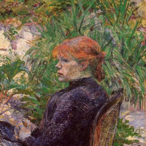 Toulouse Lautrec, Pelirroja sentada en el jardín de Monsieur Forest 1889.Óleo sobre lienzo.64x54cm.Nahmad Collection, Mónaco. Destaca su pelo rojo y tez blanquecina, con aspecto desvalido y melancólico denota humanidad.