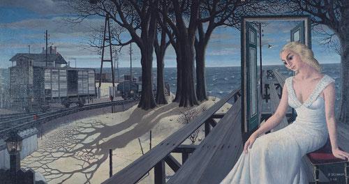 Obsesionado por el mundo femenino, en Las Sombras, Paul Delavaux pinta a mujeres melancólicas, imagen idealizada e inaccesible que tienen que ver con su dificil relación con el género femenino.