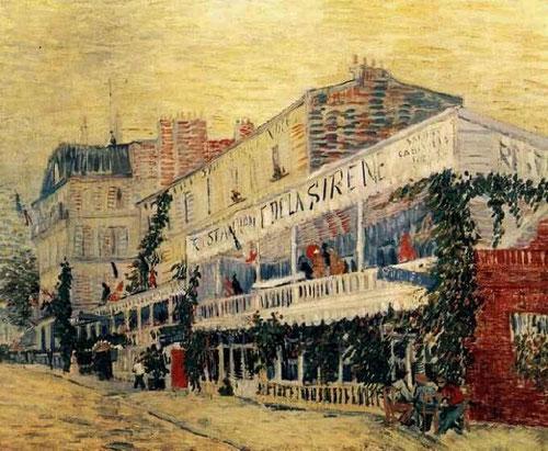 Vincent Van Gogh.Le Restaurant de la Sirène.1887.Lugar de encuentro de los barqueros.La riqueza de su paleta constituye una de sus obras mas impresionistas.