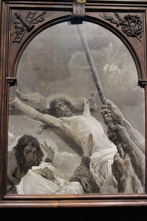 He aquí un grabado de Sorolla desconocido...Cristo en la Cruz..el arte..momento de gracia y estímulo para acercarse a Dios.Una perspectiva en diagonal interesante y muy desconocida..la Virgen levanta sus manos..Hijo ahí tienes a tu Madre!