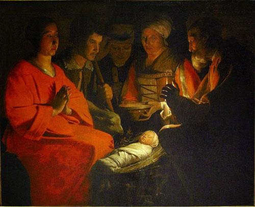 La Adoración de los pastores.Óleo sobre lienzo.107x131cm.Musée de Louvre.Composición en diagonales cruzadas y los tres pastores al fondo como eje vertebral, San José ilumina al Niño mientras su Madre reza.