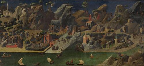 Historia de los padres del desierto de Fra Angelico, en forma de episodios de los padres eremitas del desierto en el alto Egipto, paisajes rocosos a lo largo del Nilo, los navíos surcan las aguas del Nilo..Comunidades dispersas por montañas y valles.