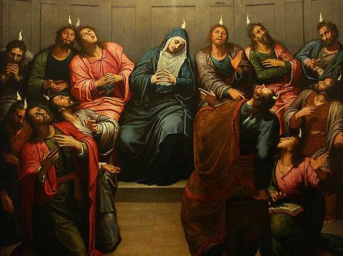 Pentecostes.Pedro de Campaña, hacia 1445.Óleo sobre tabla,catedral de Burgos. Con la habilidad técnica de los maestros de Flandes, en esta grandiosa tabla representa la venida del Espíritu Santo,Hecho de los Apostoles 2,1-4.