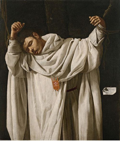 San Serapio,1628.120x104cm.Firmado en cartela dcha.Hartford,Wadsworth Atheneum Museum of Art.Se representa como ej. de santidad,con el espíritu de la Reforma católica tras Trento,se muestra la historia de los fundadores,protomártir mercedario.