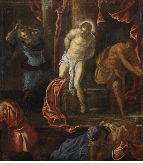 Tintoretto, La Flagelación de Cristo 1585. Viena Kunsthistorisches Museum. Nocturnos de gran intensidad con el foco irradiando en la figura de Cristo, modela su cuerpo y marca equilibrios cromáticos.