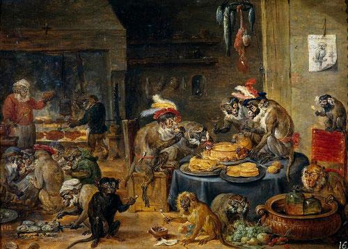 David Teniers.Banquete de monos. Alegoría de las actividades humanas.Óleo sobre tabla.25x34cm