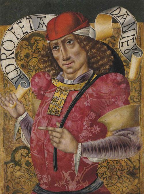 El Profeta Daniel, de estética cortesana en esta pintura religiosa, vaticinó el nacimiento  y muerte de Cristo.Su autor,el Maestro de San Nicolás, activo en Burgos 1490.
