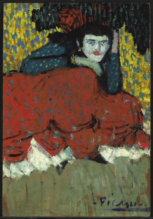 Picasso. Bailarina española, Barcelona 1901.Óleo sobre cartón,49x36cm.Nahamad Collection,Mónaco. Caricatura un punto perversa de la bailarina interesándose por los personajes de cafés y cabarets, igual que lo hizo Lautrec.