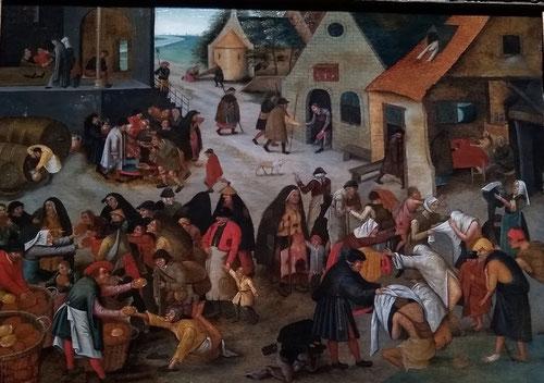 Pieter Brueghel el Joven. Las siete obras de misericordia.1616Óleo sobre tabla.43x59cm.Colección privada. Bélgica. Metáforas de la existencia en su conjunto.Era un gran narrador de historias, no condenaba a la humanidad, la contempla con mirada indulgente