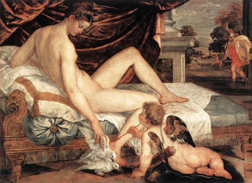 Lambert Sustris.Venus y Cupido, hacia 1550.Óleo sobre lienzo,132x184cm.Museo del Louvre Paris..Fue la Venus dormida de Giorgione lo que inaugura la desnudez del cuerpo femenino inaugurando la maniera pictórica con un canon de proporciones exageradas.