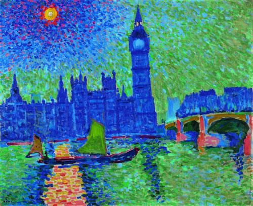 André Derain. Big Ben.Londres 1906.Sus viajes a la capital británica por encargo de Vollard,proporcionó una visión absolutamente renovada de la iudad,muy diferente a las pinturas que Manet había realizado.Icono turístico del Big Ben sobre el Tamesis.