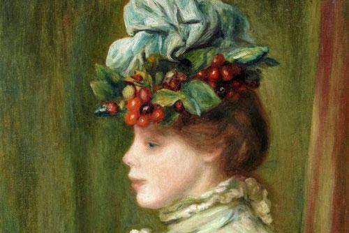 Renoir, Mujer con sombrero de cerezas, 1880.Óleo sobre lienzo. Uno de los retratos de perfil mas frecuente de medias figuras.Llama la atención la fisonomía humana. Pinceladas densas llenas de materia..