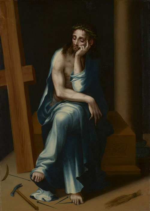 Cristo, varón de Dolores,1560.Óleo sobre tabla 64x46cm Minneapolis Institute of Arts.Cristo revestido con túnica azul sobre fondo oscuro,apoya la cabeza inclinada..despreciado,abandonado de los hombres aparece en actitud meditativa con corona de espinas..