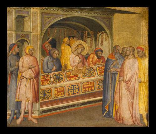 Maestro de la Madona de la Misericordia.Florencia 1350-1400.San Eloy en el taller de orfebreria. Temple sobre tabla.35x39cm.Donación de F de Asis Cambó.