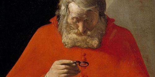San Jerónimo leyendo una carta.Óleo sobre lienzo.73x59cm.Museo del Prado.Una de sus obras más interesantes, representa su faceta intelectual,el santo aparece concentrado en su lectura,sorprende su rigurosa simetría,rota por las manos.