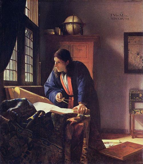 Johanes Vermeer,El Geógrafo 1669.Óleo sobre lienzo 51x45cm.Francfort Stadel Museum.