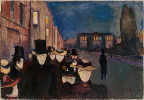 Atardecer en Karl Johan 1892.öleo sobre lienzo sin imprimación..Dramas visuales protagonizados por personajes aterrados , nos describen el estado de ánimo de las muchedumbres por las calles de la ciudad.