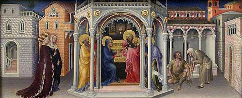 Gentille da Fabriano.Tabla de predela de la presentación de Jesús en el Templo.Ocupa la escena derecha de la predela de la Prentación del Niño en el Templo. Logia de arquerias es un referente al arquitecto Brunelleschi en Florencia.