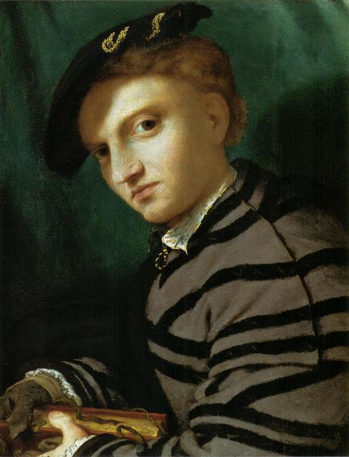 Retrato de joven con libro 1525.Óleo sobre tabla,34x27cm.Pinacoteca de Milán. Sorprendido e impetuoso este joven se vuelve a nosotros,mirada intensa y severa.Componente psicológico que ha dejado mucha literatura por su ambigüedad