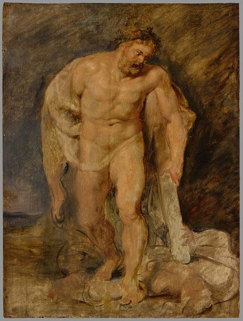 Hercules venciendo a la Discordia.1615-20. Museum Boijmans,Róterdam.Lo dibujó de espaldas,de costado de frente,detalles d piernas, pies y rostro y analizó la disección en rectángulos y triangulos.