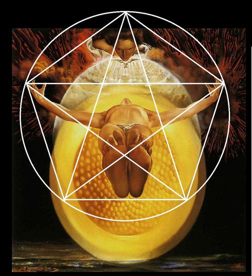 Una perspectiva en base científica de acuerdo a la proporción aurea:un triángulo cuyas proporciones vienen dadas por la intersección de las diagonales de un pentágono. Tres círculos concentricos,Dios Padre,Dios Hijo,Dios Espíritu Santo.