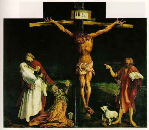 Retablo central de la Crucifixión.1516. Mathias Grúnewald No ahorró detalles para expresar el horror de la cruel agonía, en el último espasmo que precede a la muerte. Manos convulsionadas y cuerpo moribundo y ensangrentado.