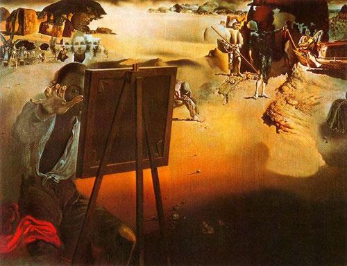 Dalí, Impresiones de África,1938.Dobles imágenes de playas infinitas que se transforman en desiertos y se funden en roca volcánica.Homenaje a Velázquez y Caravaggio en el escorzo de Emaús.