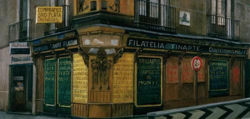 """Amalia Avia.Filatelia Finarte,1989.Óleo sobre tabla.71x90cm.Coección privada.""""No busco la perfección sino ser capaz de reflejar la huella de lo humano, de esas vidas anónimas que tanto le atraen"""""""