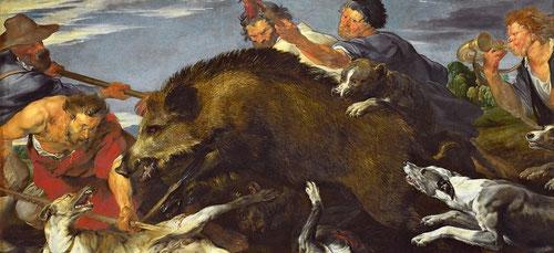 Van Dyck/Snyders,La caza del jabalí.203X302cm. Muy conectado a Rubens por el diseño de la escena y actitudes de humanos y animales.Existen dos versiones casi identicas,una en Munich y otra en Dresde.