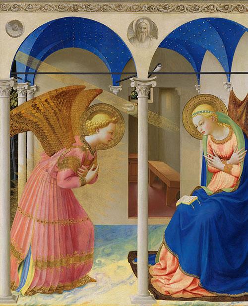 Por uno de los pliegues abierto, nos deja ver, por debajo de la túnica, un vestido interior azul, dándonos a entender que el ángel, criatura espiritual, ha tomado forma corporal. La túnica rosa del ángel es del color de la carne humana