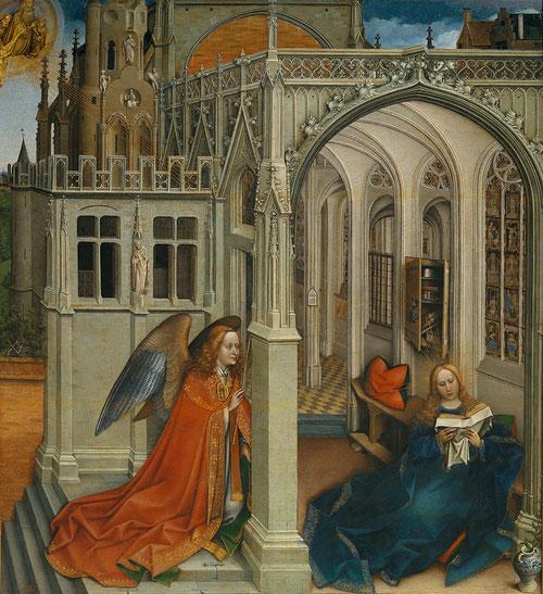Robert Campin,la Anunciación,1420-25.Óleo sobre tabla,76x70cm.Colección Real. Cuadro de devoción.