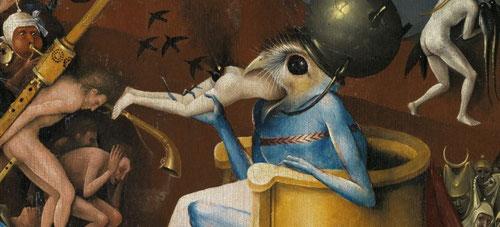 """Detalle del  horror del infierno del Jardin de las Delicias donde un enorme diablo-pájaro,sentado,defeca las almas que previamente ha engullido.Su fuente literaria""""La visión de Tundal""""cuenta las visiones de un caballero inglés que visualiza el infierno."""