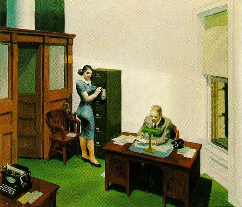 Hopper, Oficina de noche.1940. Óleo sobre lienzo.56x63cm.Coleccion Walker Art Center, Mineápolis.