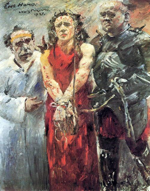 Ecce Hommo de Lovis Corinth,1925.Dedica una atención particular a la Pasión y muerte de Cristo, pincelada violenta cercana al expresionismo,gran libertad a la hora de expresar iconografía tradicional,colores desenfocados,difusión de formas.