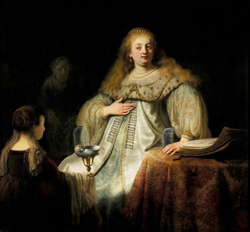 Rembrandt.Judit en el banquete de Holofernes 1634Sobre fondo oscuro engalanada la heroina bíblica Judit con mirada desafiante reivindica lo propiamente holandes frente a los españoles.Contraste dramático de la luz antes de cortarle la cabeza a Holofernes.