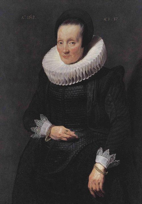Van Dyck,1518.Retrato de mujer de 58 años,Liechtenstein. Lleva el distintivo de la Casa para impedir la dispersión de la colección, fue uno de sus primeros encargos como maestro del gremio de pintores de Amberes.De negro con gola y puños blancos.