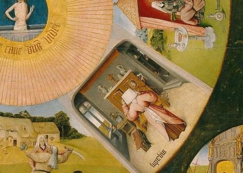Detalle 7 pecados capitales: La SOBERBIA o vanidad: Una mujer se acicala y mira en el espejo sostenido por un demonio, en un interior con pequeños objetos de uso cotidiano.