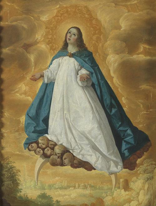 Inmaculada de Francisco de Zurbarán.Óleo sobre lienzo.101x77cm.Procedencia Londres.Tema muy demandado por la clientela sevillana.Se adaptaba a sus cualides de narrador,aquí la Virgen niña vestida de blanco y azul,elevada sobre  media luna invertida.