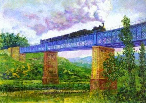 Viaducto de Ormáiztegui,1896.Óleo sobre lienzo.70x98cm.Colección particular.