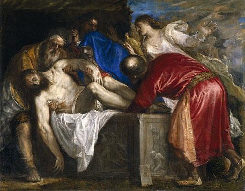 Gran habilidad compositiva de Tiziano en este Entiero de Cristo, gran número de pesonajes, juego de luces contrastadas, fondo clasicista. Museo del Prado, Madrid