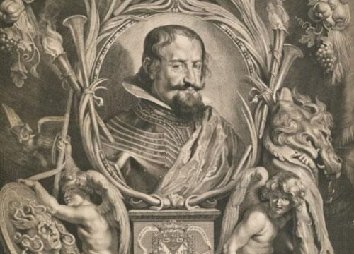 Retrato de Don Gaspar de Guzman, Conde-Duque de Olivares,1625. Primer ministro de Felipe Iv y por tanto una de las personalidades mas poderosas de Europa..Las palmas,trompetas simbolizan su fama.