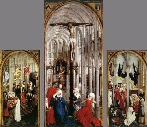 En el interior de una catedral gótica, van der Weyden interpreta simultaneamente los 7 sacramentos con la Crucifixión, fruto de la redención serán los sacramentos, vida de gracia.Gigantescas dimensiones de Cristo,mientras 7 angeles sobrevuelan las escenas