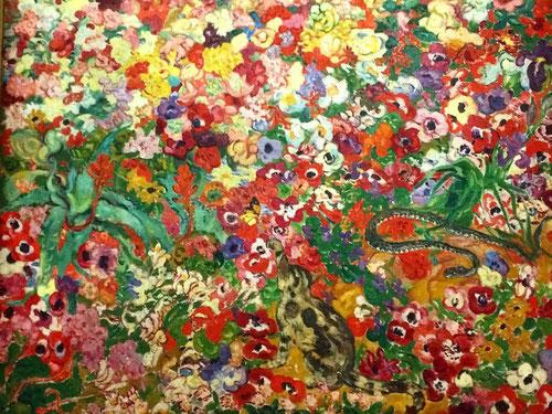 Louis Valtat.Fragmento de macizo de flores en un jardin de Provenza 1905.Òleo sobre lienzo 131x164cm. Museo de Artes decorativas de París.
